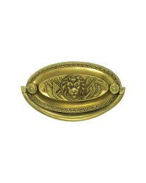 """Oval Plate Handle with Lion Detail 3"""" Bore"""