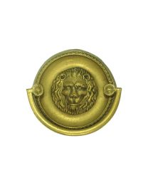 """Oval Plate Handle with Lion Detail 2 1/4"""" Bore"""